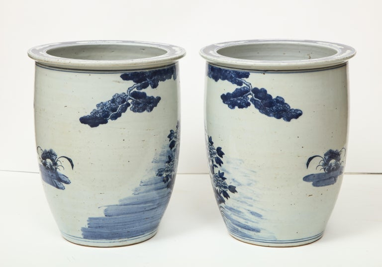 Pair of Chinese Blue and White Planters For Sale 1
