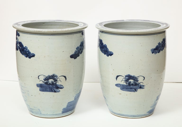 Pair of Chinese Blue and White Planters For Sale 2