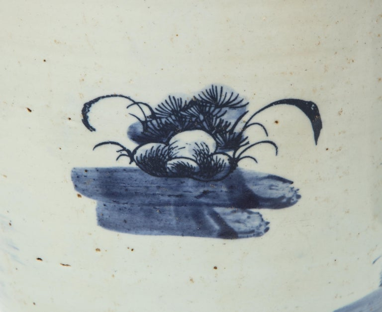 Pair of Chinese Blue and White Planters For Sale 3