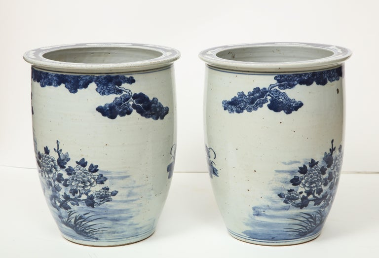 Pair of Chinese Blue and White Planters For Sale 4