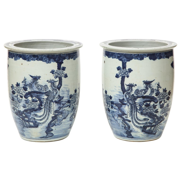 Pair of Chinese Blue and White Planters For Sale