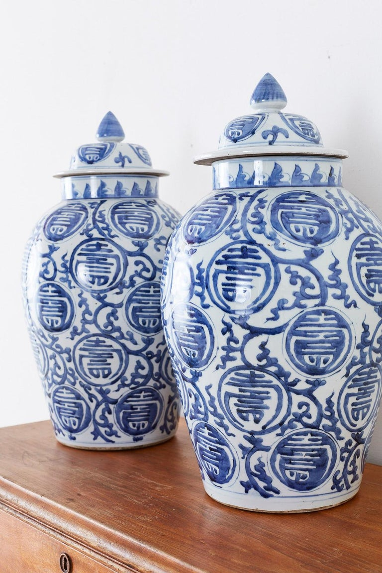 Pair of Chinese Blue and White Porcelain Ginger Jars For Sale 7