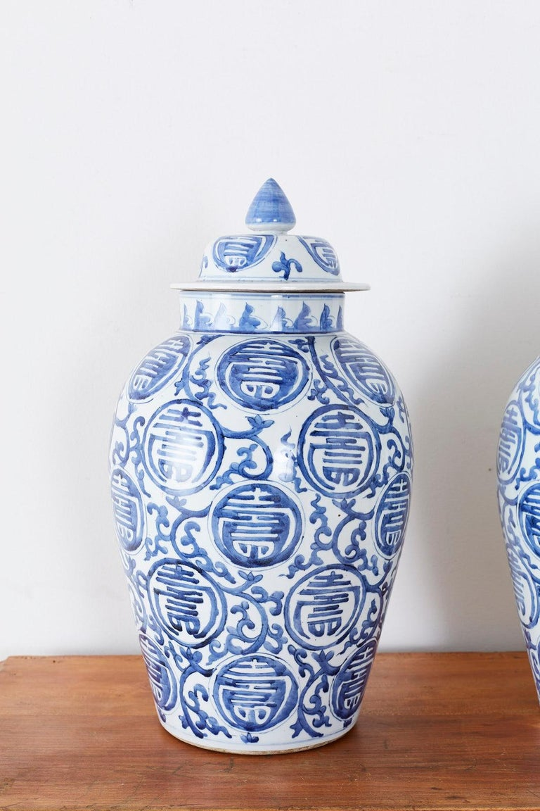 Chinese Export Pair of Chinese Blue and White Porcelain Ginger Jars For Sale