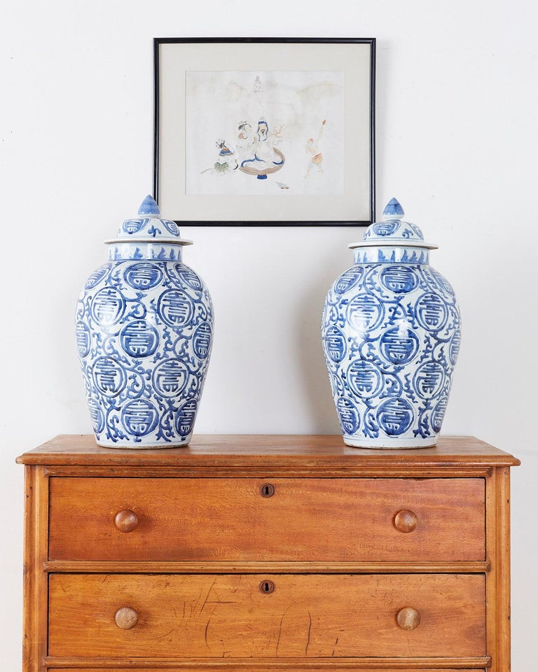 20th Century Pair of Chinese Blue and White Porcelain Ginger Jars For Sale