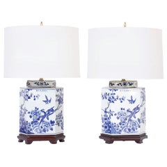 Pair of Chinese Blue and White Porcelain Hexagon Table Lamps