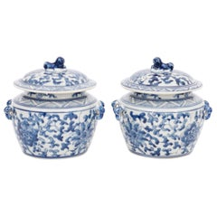 Pair of Chinese Blue and White Porcelain Petit Lidded Pots