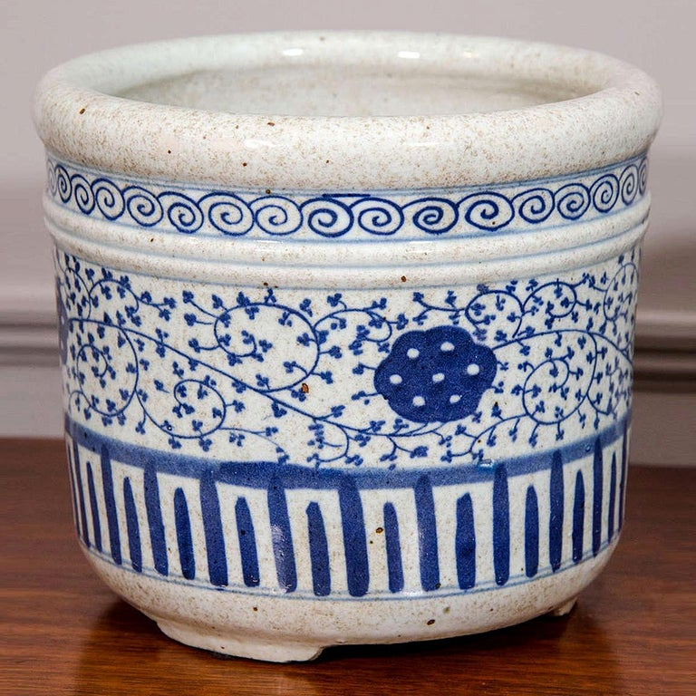 Qing Pair of Chinese Blue and White Porcelain Planters