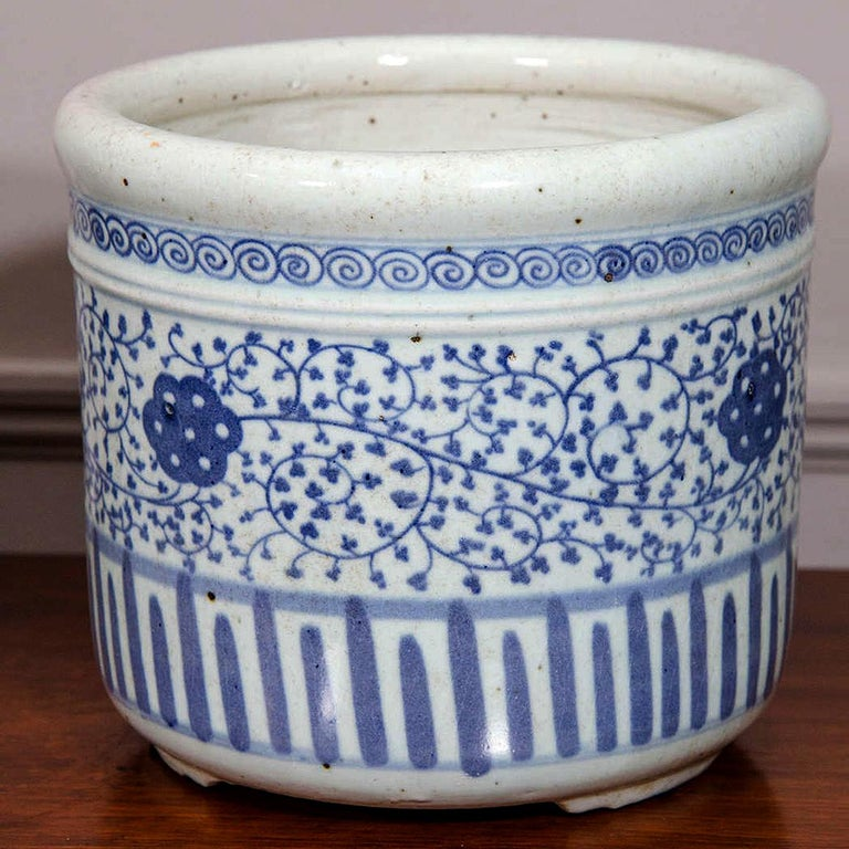 Glazed Pair of Chinese Blue and White Porcelain Planters