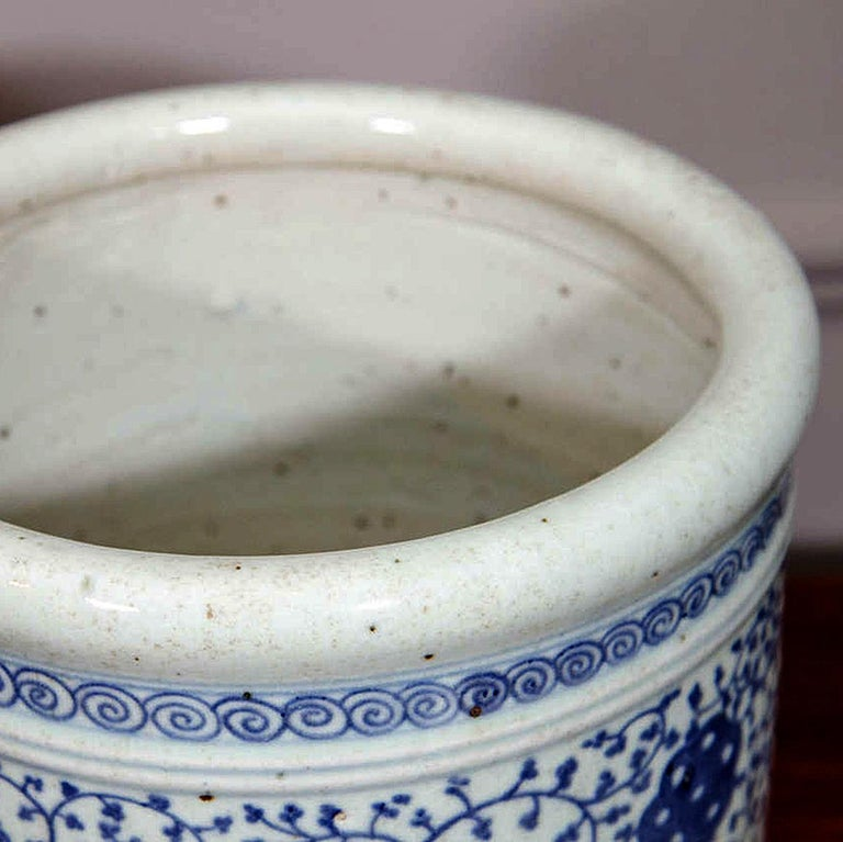 20th Century Pair of Chinese Blue and White Porcelain Planters