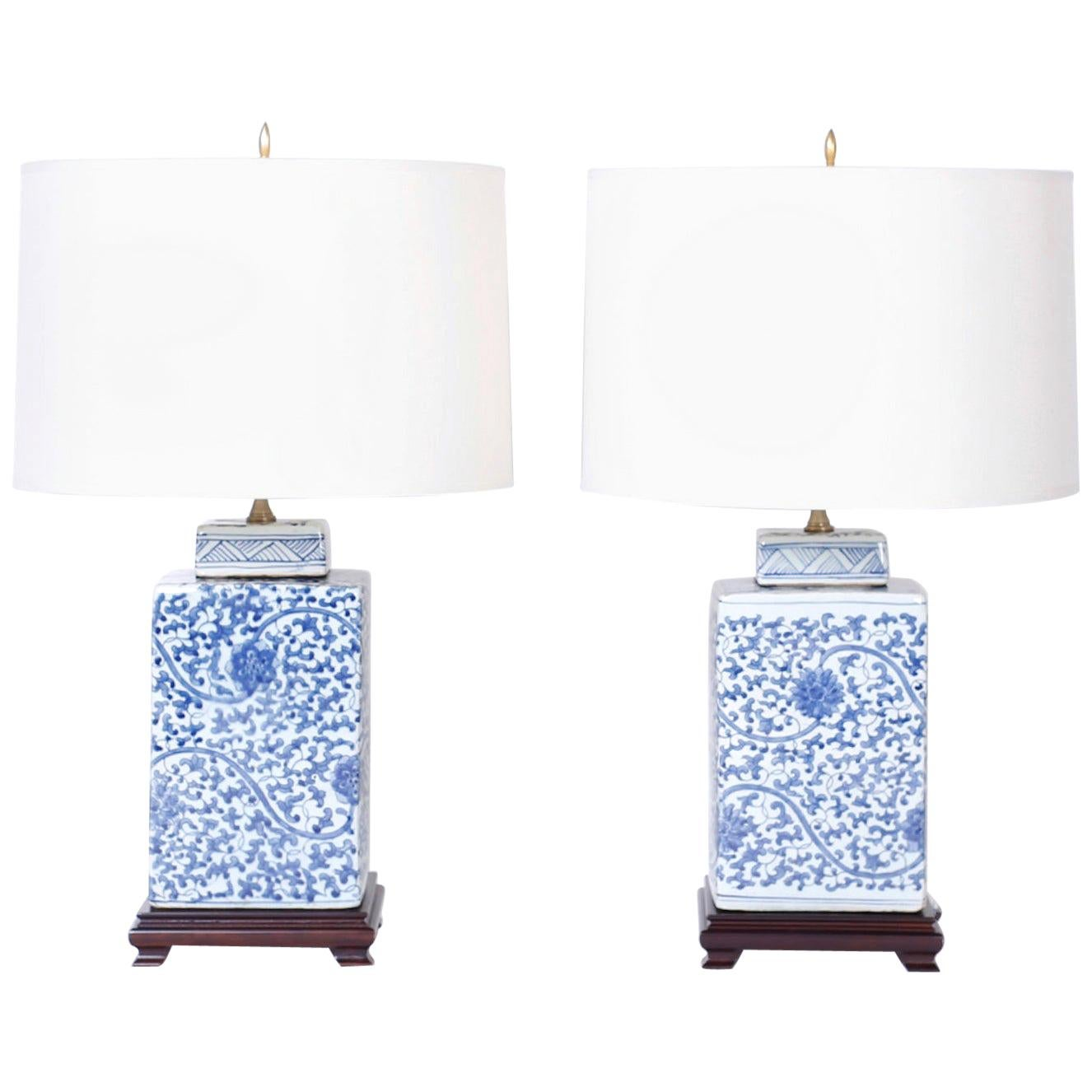 Pair of Chinese Blue and White Porcelain Table Lamps