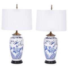 Pair of Chinese Blue and White Porcelain Table Lamps with Flowers and Birds
