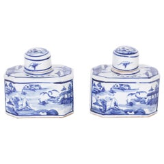 Pair of Chinese Blue and White Porcelain Tea Caddies with Landscapes