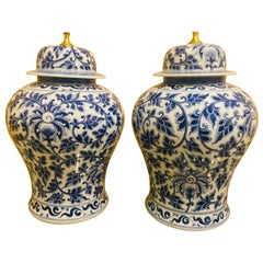 Pair of Chinese Blue and White Porcelain Temple Jar Lamps