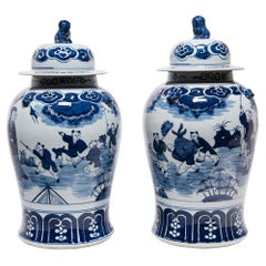 Pair of Chinese Blue and White Springtime Baluster Jars