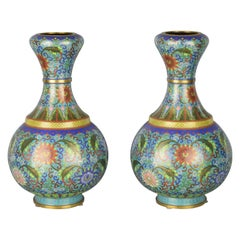 Pair of Chinese Blue Cloisonné Vases, Enamelled and Gilded, Early 20th Century