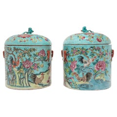 Pair of Chinese Blue Famille Rose Rooster Jars