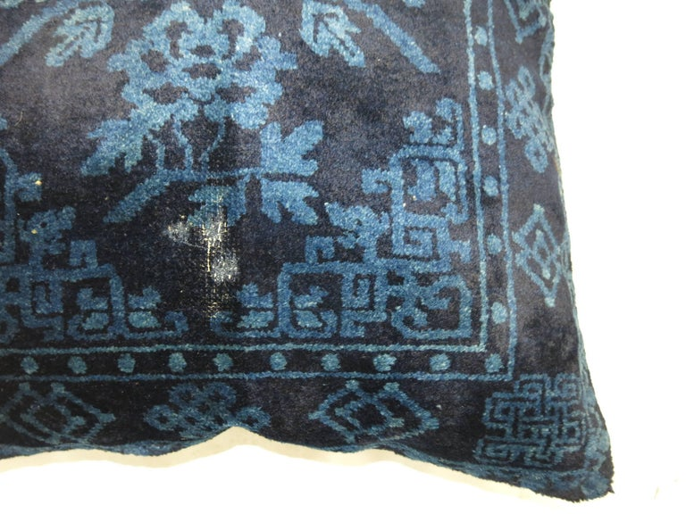 Chinese Export Indigo Blue Pair of 19th Century Rug Pillows For Sale