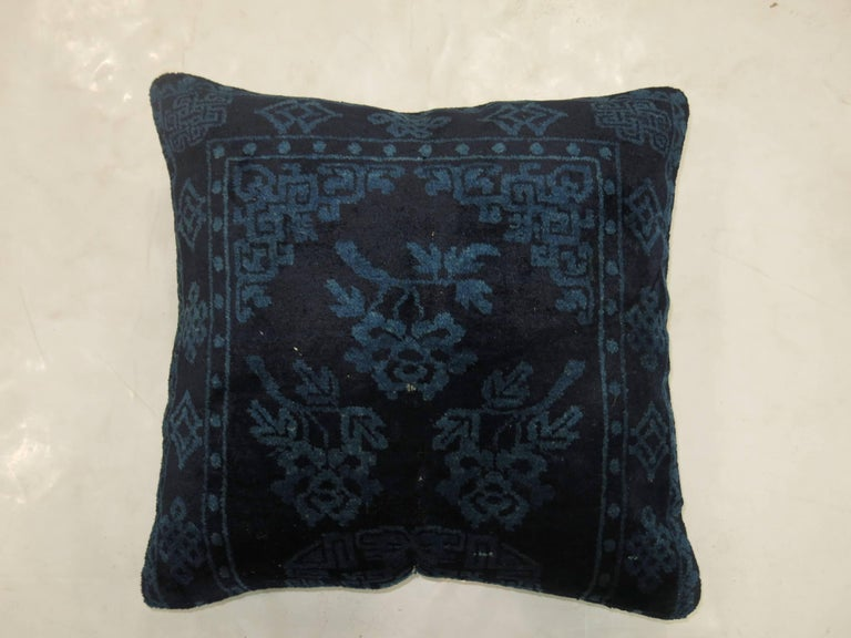 Wool Indigo Blue Pair of 19th Century Rug Pillows For Sale