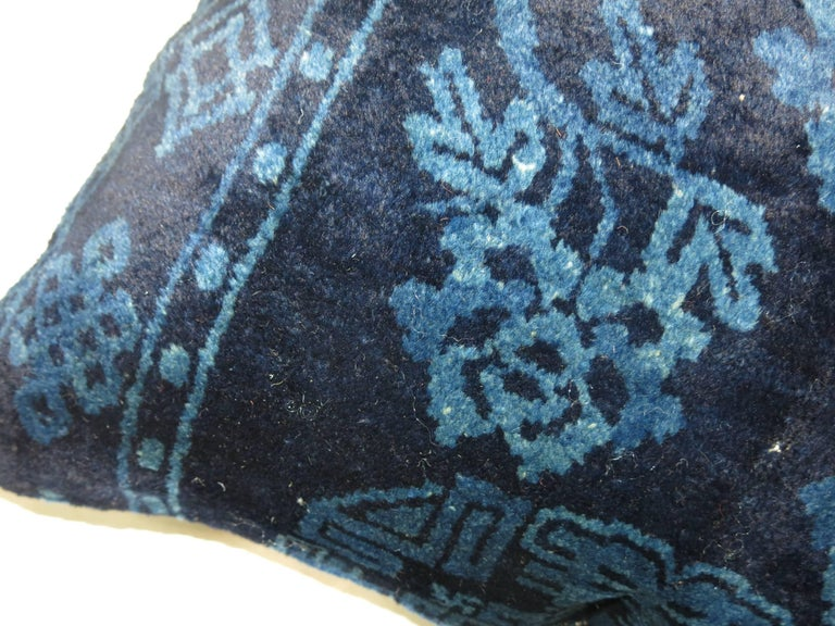 Indigo Blue Pair of 19th Century Rug Pillows For Sale 1
