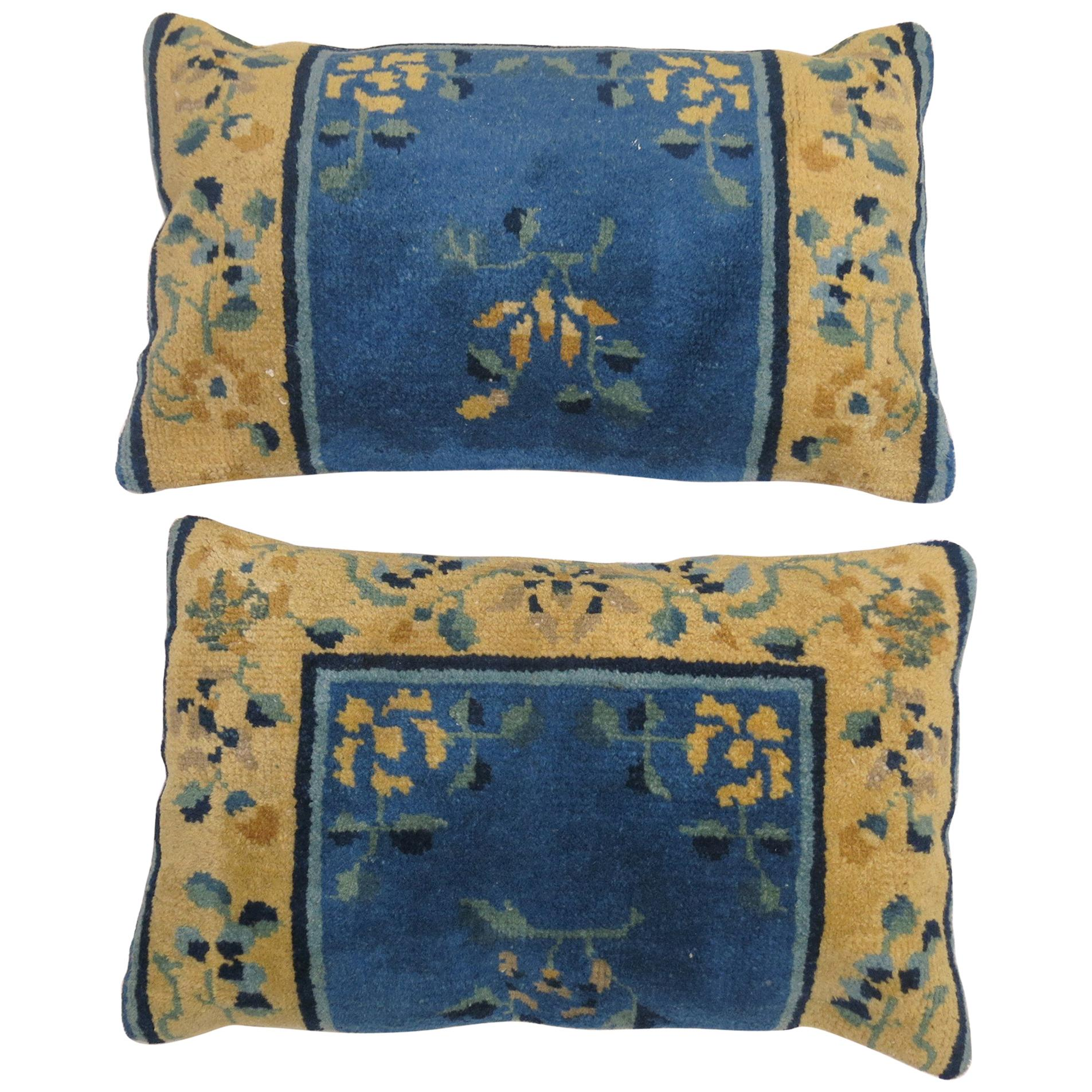 Pair of Chinese Blue and Gold Wool 20th Century Rug Pillows