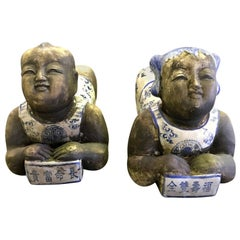 Pair of Chinese Boy and Girl Porcelain Ceramic Pillows Headrests