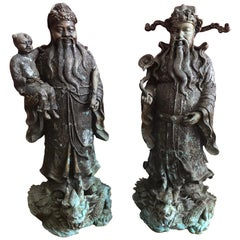 Pair of Chinese Bronze Deity Figures, 20th Century