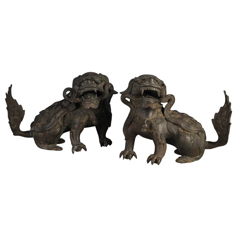 Pair of Chinese Bronze Foo Dogs, 19th Century For Sale