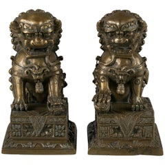 Pair of Chinese Bronze Foo Dogs, circa 1860