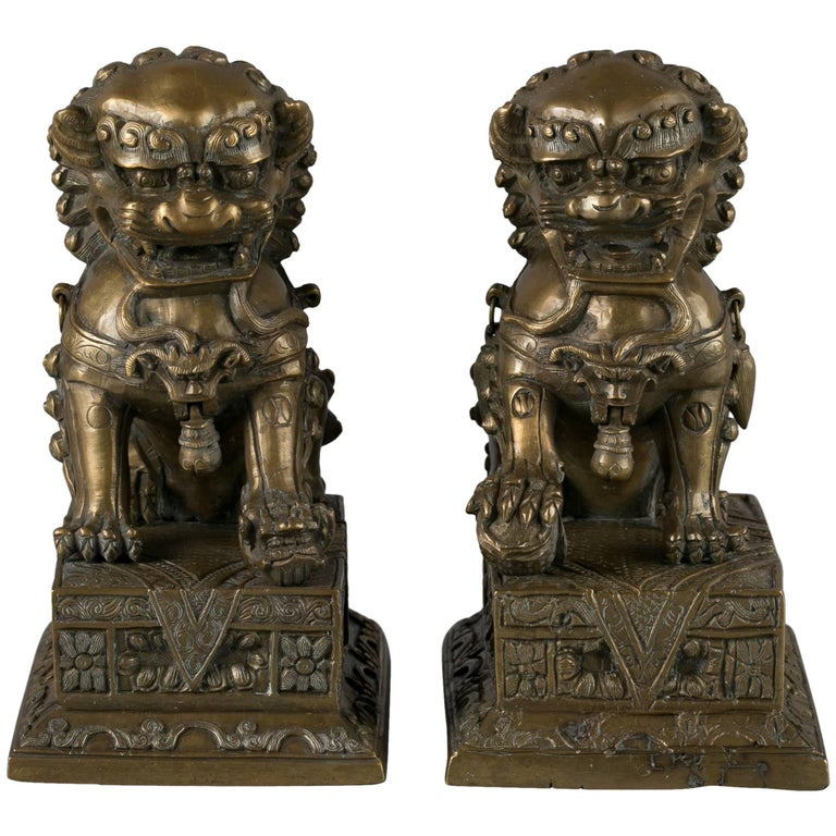 Pair of Chinese Bronze Foo Dogs, circa 1860 For Sale