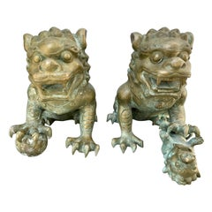 Pair of Chinese Bronze Foo Dogs Statues