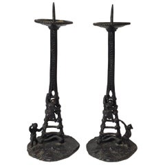Pair of Chinese Bronze Pricket Stands Late Ming to Early Qing Dynasty