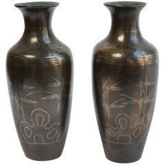 Pair of Chinese Bronze Shih So Vases, circa 1800