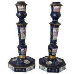 Pair of Chinese Canton Enamel Candlesticks, Qianlong Period