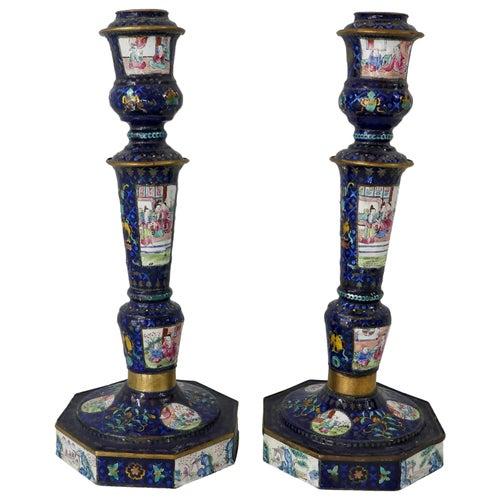 Pair of Chinese Canton Enamel Candlesticks, Qianlong Period