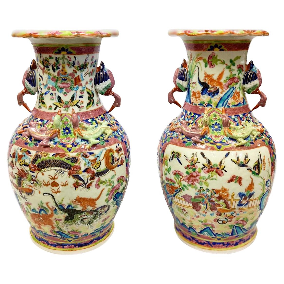 Pair of Chinese Canton / Rose Medallion Vases / Lamps, 19th Century