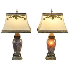 Pair of Chinese Carved Amethyst Table Lamps with Fine Shades
