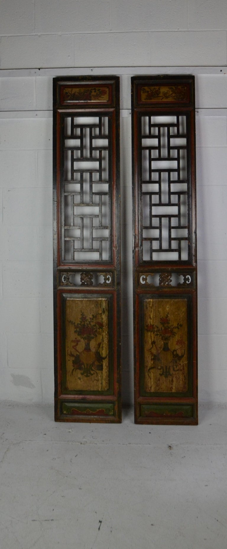 Pair of Chinese Carved and Painted Panels In Good Condition For Sale In Pasadena, CA