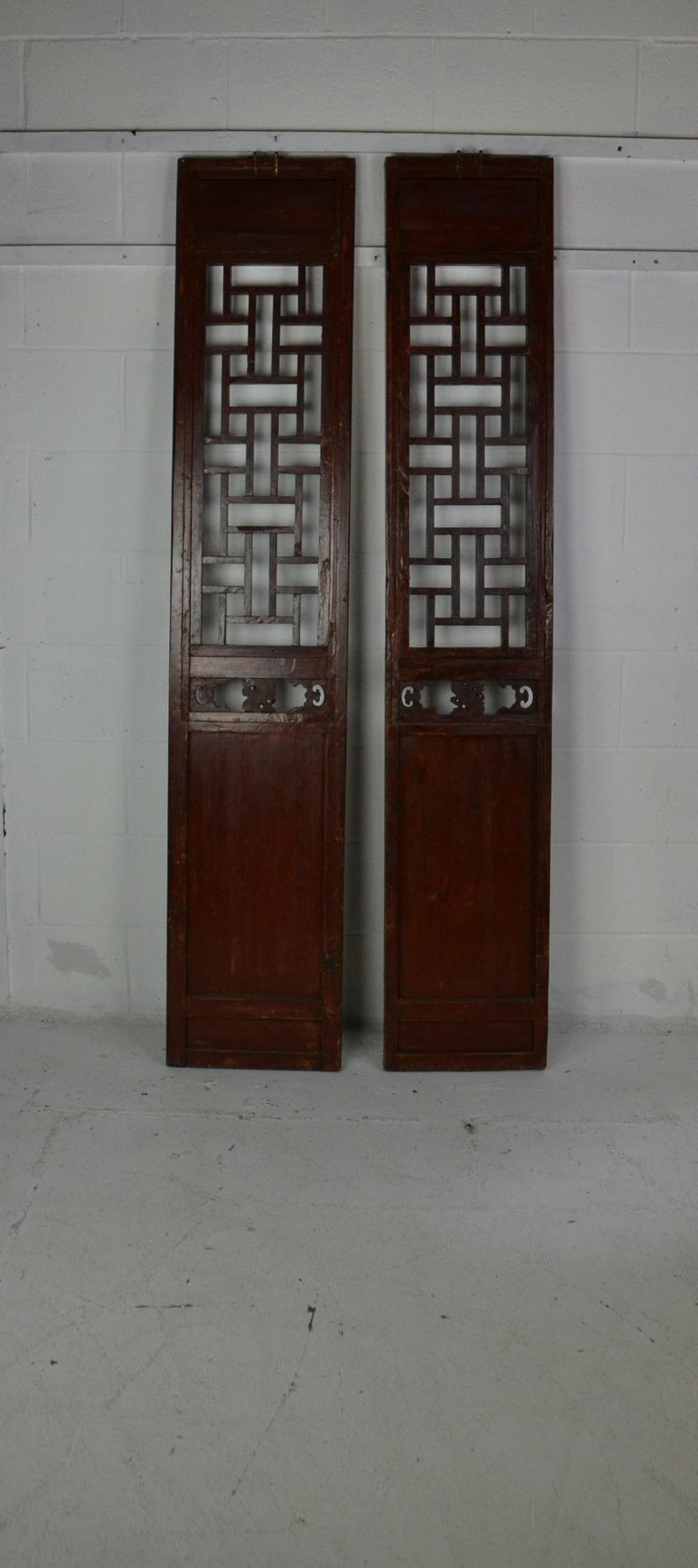 Late 19th Century Pair of Chinese Carved and Painted Panels For Sale