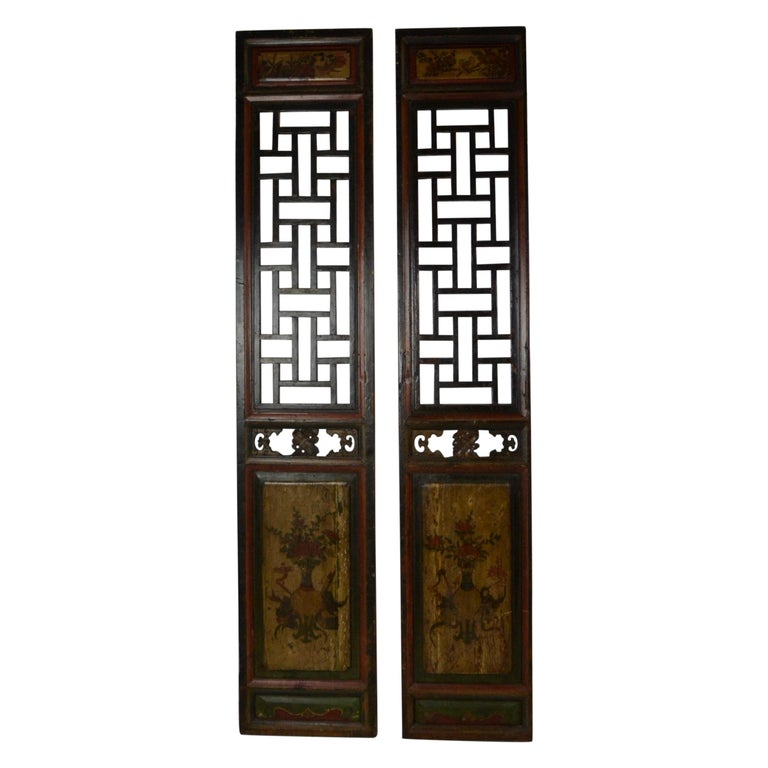 Pair of Chinese Carved and Painted Panels For Sale