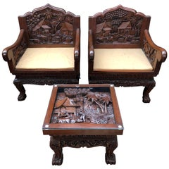 Pair of Chinese Carved Armchairs and Table Suite, 20th Century