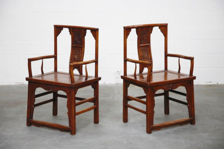 Chinese Export Pair of 20th Century Chinese Hardwood Carved Armchairs For Sale