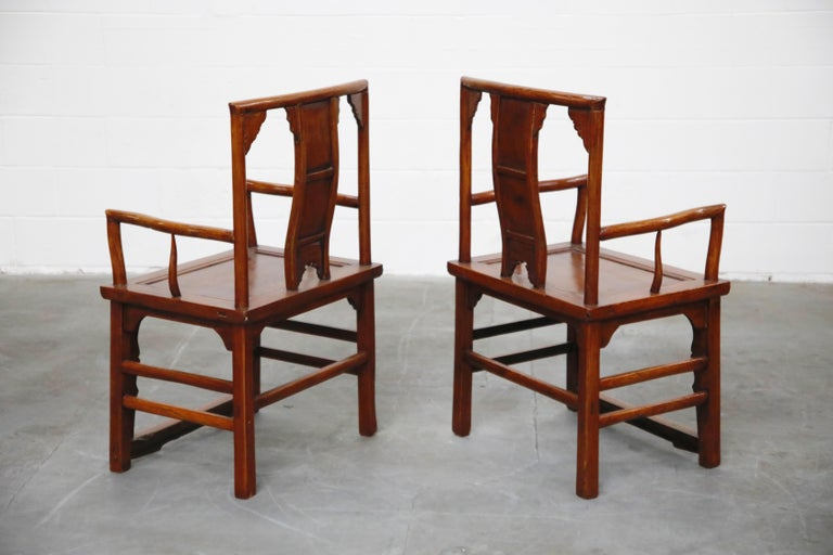 Unknown Pair of 20th Century Chinese Hardwood Carved Armchairs For Sale