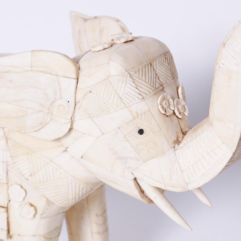 Pair Of Chinese Carved Bone Elephants For Sale At 1stdibs