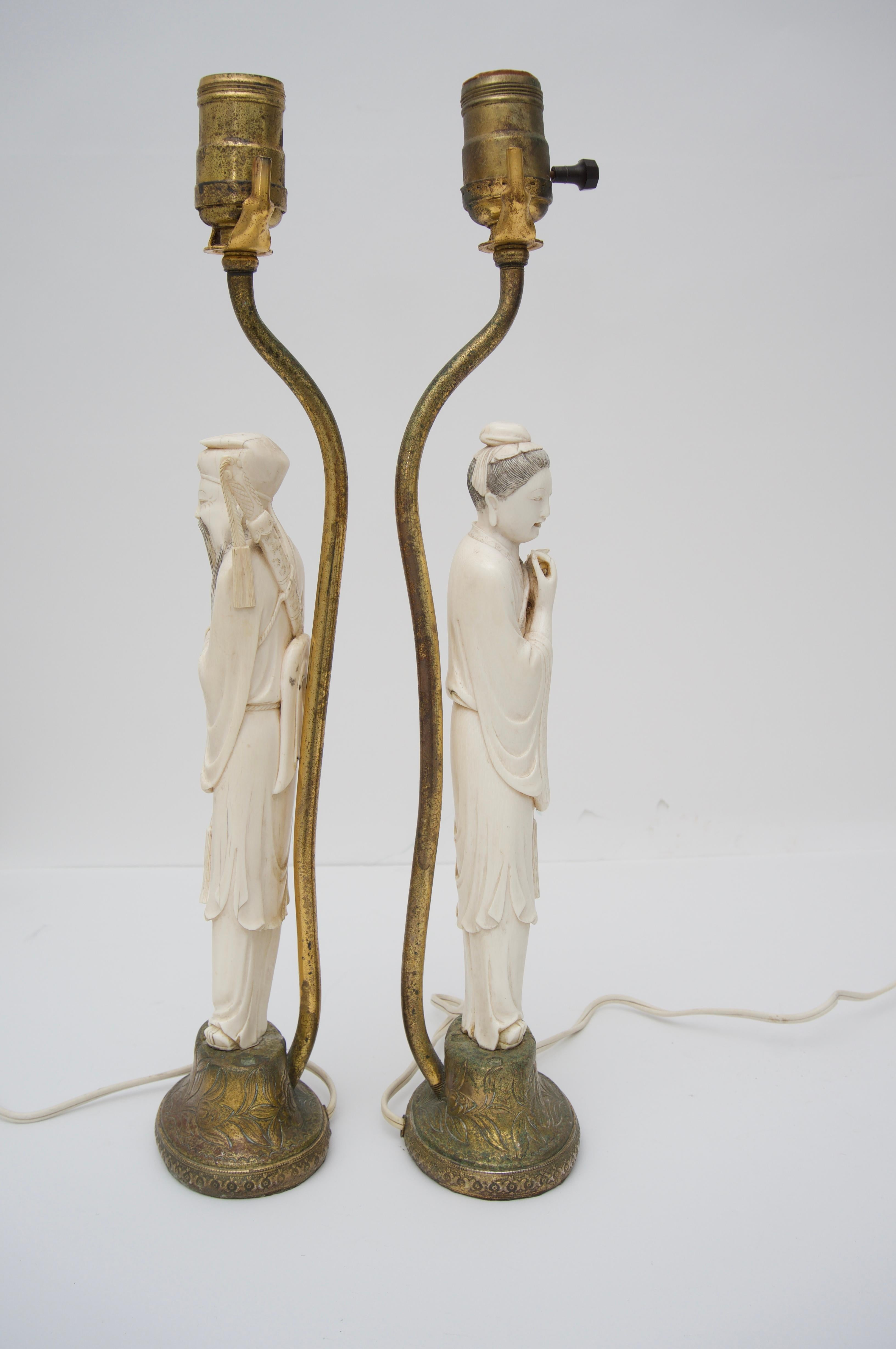 Pair Of Chinese Carved Bone Lamps At 1stdibs