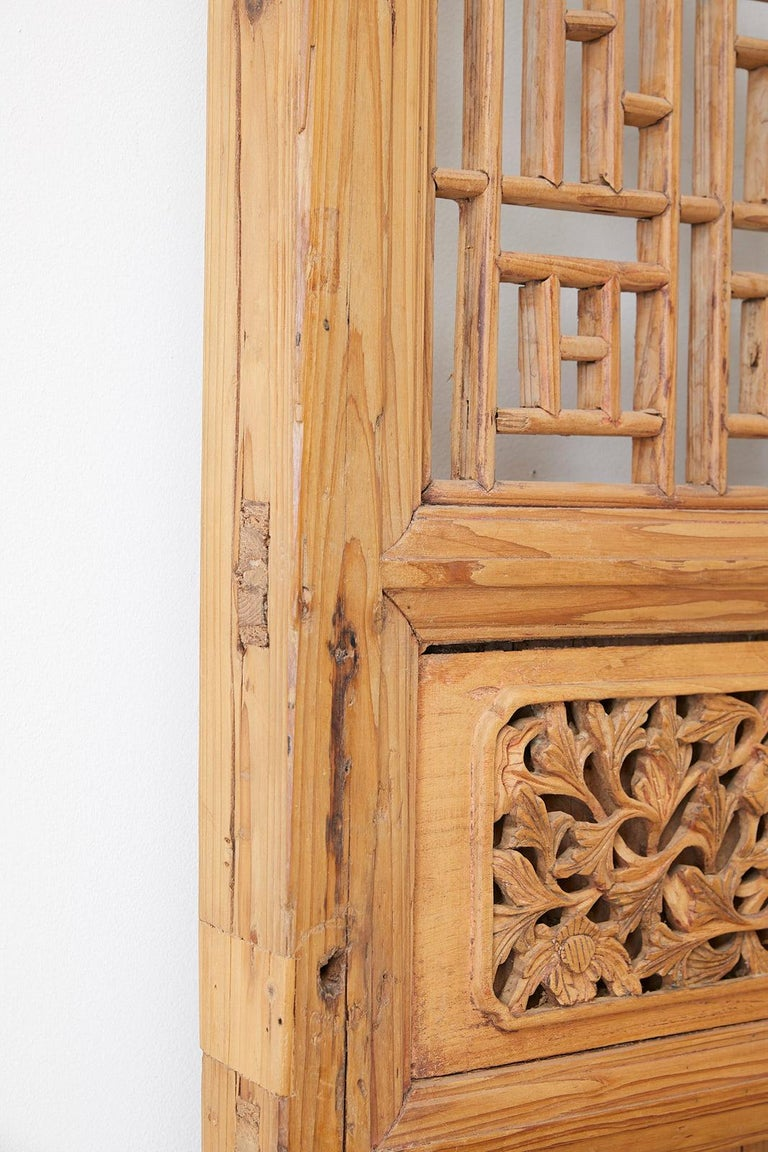 Pair of Chinese Carved Doors with Lattice Windows For Sale 6