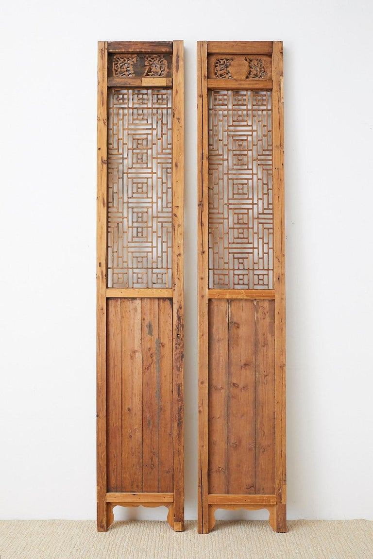 Pair of Chinese Carved Doors with Lattice Windows For Sale 7