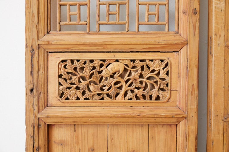 Ming Pair of Chinese Carved Doors with Lattice Windows For Sale
