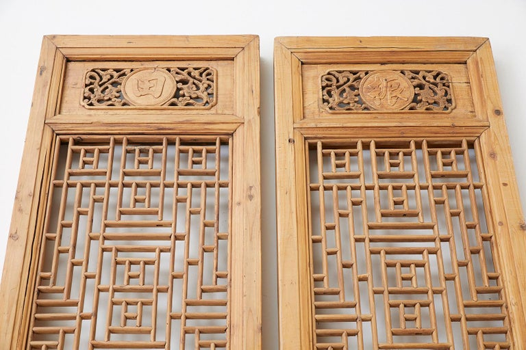 Hand-Carved Pair of Chinese Carved Doors with Lattice Windows For Sale