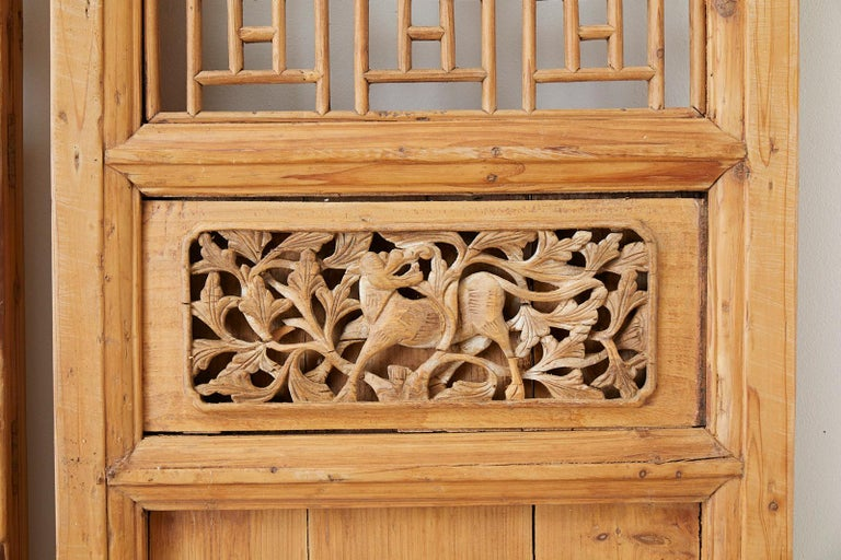 20th Century Pair of Chinese Carved Doors with Lattice Windows For Sale