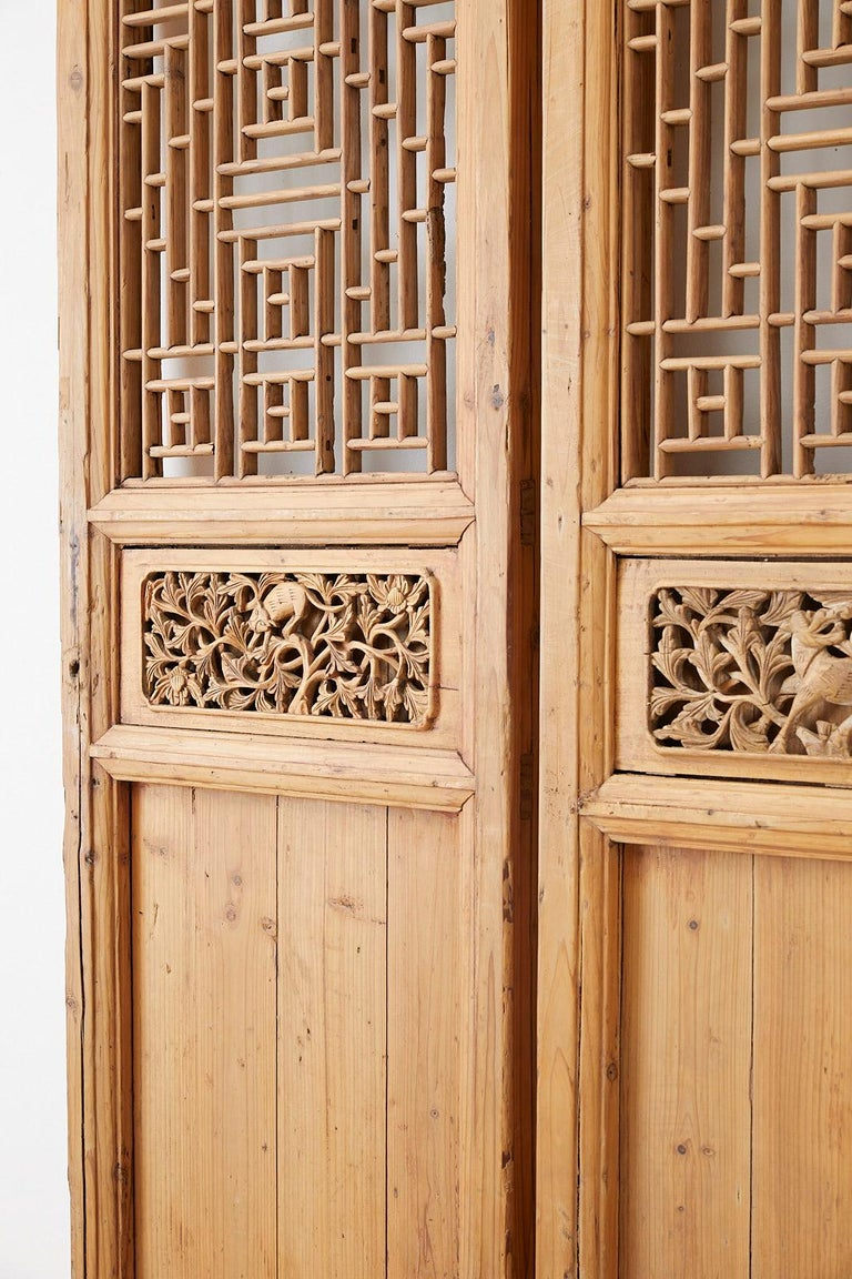 Wood Pair of Chinese Carved Doors with Lattice Windows For Sale